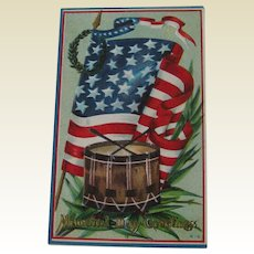 Memorial Day Postcard / Flag Postcard / Drum Postcard / Patriotic Postcard