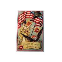 Lady Liberty Fourth of July Postcard / Patriotic Postcard / Vintage Postcard