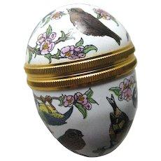Petite Halcyon Days Egg Shaped Box Many Birds / Enamel Box / Collectible Box