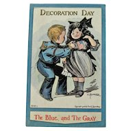 Rare Decoration Day Postcard - Bunnell Postcard - Lounsbury Postcard - The Blue and The Gray Postcard