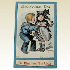 Rare Decoration Day Postcard - Bunnell Postcard - Lounsbury Postcard - The Blue and The Gray Postcard