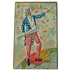Uncle Sam Postcard - Fourth of July Postcard - Declaration of Independence