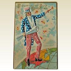 Uncle Sam Postcard - Fourth of July Postcard - Declaration of Independence
