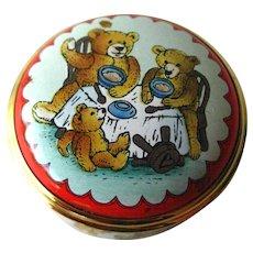 Halcyon Days Three Bears Enamel Box / Hand Painted Box / Trinket Dresser Box / Enamel Box / Vanity Item/ Pill Box