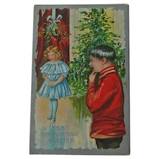 Christmas Postcard Girl under Mistletoe - Christmas Postcard - Vintage Postcard
