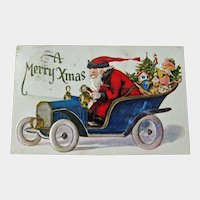 Postcard Santa in Vintage Car Delivering Gifts - Made in USA Postcard - Christmas Postcard - Collectible Postcard