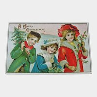 Postcard Children Carrying Christmas Trees - Christmas Postcard - Vintage Postcard