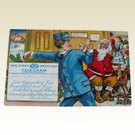 Rare Winsch Santa Telegram Postcard - Santa Workshop Postcard - Special Delivery Postcard