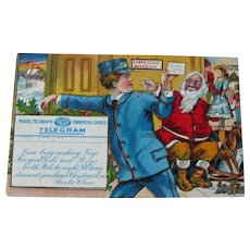 Rare Winsch Santa Telegram Postcard - Santa Workshop Postcard - Special Delivery Postcard