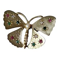 Gold-tone Butterfly Brooch with Rhinestones - Vintage Pin - Fashion Jewelry