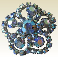 Blue Aurora Borealis Rhinestone Pin - Vintage Pin - Fashion Jewelry