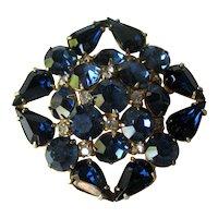 Royal Blue Rhinestone Pin - Vintage Brooch - Fashion Jewelry