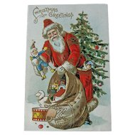 Old World Santa Postcard - Vintage Santa Postcard - Holiday Decor - Ephemera