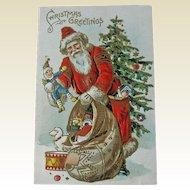 Old World Santa Postcard - Vintage Santa Postcard - Holiday Decor - Ephemera