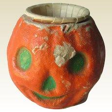 Paper Mache Pumpkin Nut Cup / Vintage Halloween / Vintage Pumpkin / Vintage Jack-O-Lantern