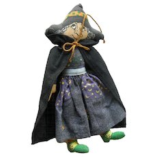Vintage Hallmark Halloween Winifred The Witch Cloth Doll / Vintage Halloween