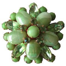 Stunning Pin with Green Cabachons and Rhinestones - Vintage Brooch - Fashion Jewelry