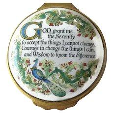 Halcyon Days Enamel Box / Serenity Prayer / Vintage Box / Enamel Box / Home Decor