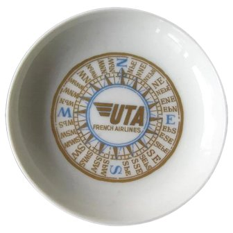 UTA Airlines Butter Pat - France Airline Butter Pat - Airline Butter Pat - Collectible Butter Pat - Airline China - Vintage Airline China