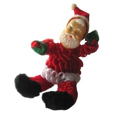 Chenille Santa Figurine / Rubber Face Santa / Christmas Decor / Holiday Decor / Vintage Santa / Christmas Tree