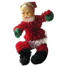 Chenille Santa Figurine / Rubber Face Santa / Christmas Decor / Holiday Decor / Vintage Santa / Christmas Tree