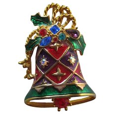 Christoper Radco Christmas Bell Brooch - Gift for Her