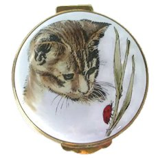 Vintage Crummles England Enamel Box With Cat Decoration