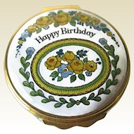 Vintage Enamel Happy Birthday Halcyon Days Box