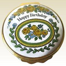 Vintage Enamel Happy Birthday Halcyon Days Box