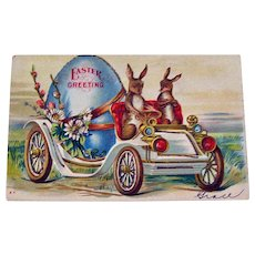 Easter Postcard Rabbits Driving Car with Large Egg in Back
