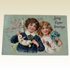 Edwardian Children with Rabbits Easter Postcard