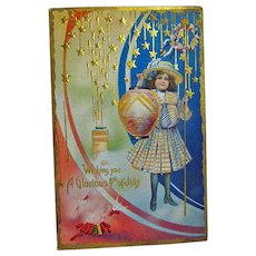 Fourth of July Postcard Girl Holding Paper Lantern