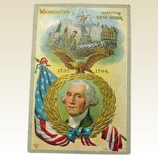 George Washington Entering New York Postcard