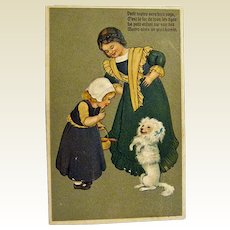 Postcard Two Girls and Poodle Dog