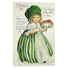 Clapsaddle St. Patrick's Day Postcard Girl with Bouquet