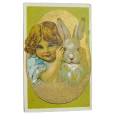 Easter Postcard Sweet Girl Paying Peek-a-Boo with Rabbit