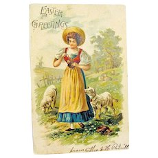 Easter Postcard Lovely Young Maiden with Sheep