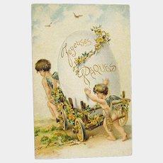 Easter Postcard Cherubs with Huge Egg in Cart