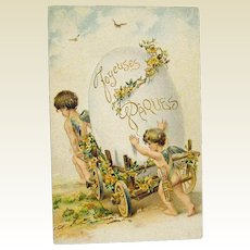 Easter Postcard Cherubs with Huge Egg in Cart