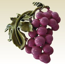Coro Enamel Figural Grape Pin