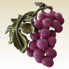 Coro Enamel Figural Grape Pin
