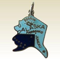 Alaska State Charm Enamel Silver-Tone