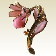 Vintage Trifari Pink Poured Glass Flower Pin