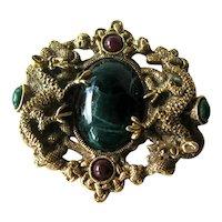 Vintage Figural Dragon Pin Large Green Stone