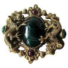 Vintage Figural Dragon Pin Large Green Stone