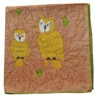 Owl Handkerchief by Erin O'Dell - Designer Hankie
