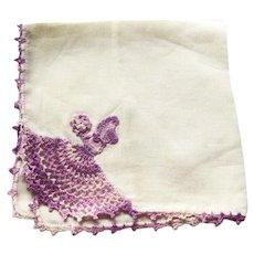 Crochet Sunbonnet Girl Hankie - Variegated Purple Crochet