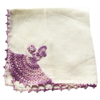 Crochet Sunbonnet Girl Hankie - Variegated Purple Crochet