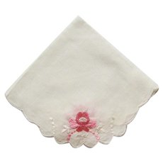 Petite White Round Hankie with Embroidered Pink Flowers