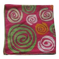 Vintage Hot Pink Mary Lewis Hankie Mod Abstract Geometric Swirls